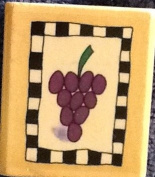 Grapes Checkerboard Wood Mounted Rubber Stamp - Lori Walters