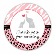 40 Stickers Gift Favour Label Pink Elephants Jungle Zebra Leopard Girl Baby Shower