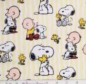 """1/2 Yard - Peanuts """"SNOOPY STRIPE"""" Cotton Fabric - Officially Licenced (Great for Quilting, Sewing, Craft Projects, Throw Pillows & More) 1/2 Yard x 110cm"""