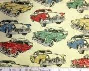 1 Yard - Classic Cars on Pastel Yellow Flannel Fabric (Great for Quilting, Sewing, Craft Projects, Blankets, Throw Pillows & More) 1 Yard x 110cm