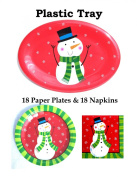 Snowman Holiday Christmas Disposable Dinnerware Set (For 18) + Plastic Serving Tray Bundle