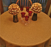 Polyester Prairie Burlap Tablecloth (wheat, 80 Round) by LinenLovers