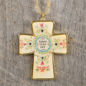 "Natural Life Glitter and Gold Car Charm Cross ""Bless this Car"""