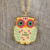 "Natural Life Glitter and Gold Car Charm Owl ""Be Happy"""