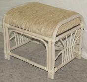 Ottoman Pouffe Stool Nikki Colour White with Cushion. Handmade Eco-friendly Materials Rattan Wicker Home Furniture