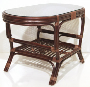 Oval Coffee Table Alisa Colour Dark Brown with Glass Top. Handmade Eco-friendly Materials Rattan Wicker Home Furniture