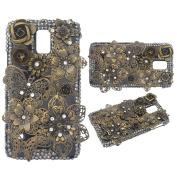 KAKA(TM) 3D Handmade Rhinestone Bling Crystal Case Cover Flower Butterfly Pattern For Samsung Galaxy s5