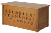 Wood Toy Box, Large ABC Toy Chest in Oak, Thematic Font, Custom Options