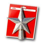 Small Silver Glitter 5 Point Star Tree Topper - 14cm