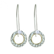Dazzling Round Circle Two Tone Earrings in 925 Sterling Silver and 14k Gold Filled with Cz