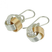 Two Tone Knot Earrings in 925 Sterling Silver and 14k Gold Filled Unique Artisan Design