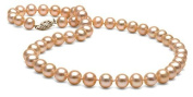 8 - 8.5mm Freshwater Cultured Pink Pearl Necklace Set Neack, bracelet and earrings14k Gold Clasp