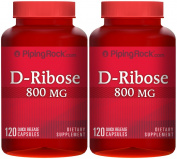 D-Ribose 800 mg 100% Pure 2 Bottles x 120 Capsules