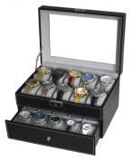 Sodynee® Black Pu Leather 20 Grid Jewellery Watch Display Organiser Gloss Top Box Case Large