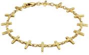 Symbols of Faith 14k Gold-Tone Fancy Cross Bracelet, 18cm