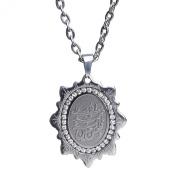 Engraved Crystal Silver Pt Panjtan Mohammad Ali 5tan Necklace Islamic Shia Chain