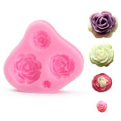 Baking Mould Cake 4 Cavities Rose Flower Silicone Mould Mould Sugar Craft Cake Decorating Fondant Cupcake Chocolate Mini Roses Bakeware 7.5cm X 7cm X 1cm