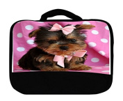 Trendy Accessories Cute Yorkshire Puppy with Pink Ribbon Design Pattern Print Insulated Canvas Lunch Bag
