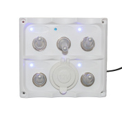 X-Haibei Marine Electric Blue LED Toggle Switch Panel 5 Gang with Power Socket Panel 12V
