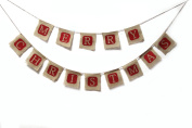 Junxia Merry Christmas Burlap Bunting Banner for Holiday Decoration