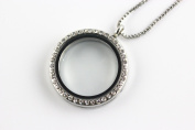 BRCBeads Silver Plated 30mm Round GlassCrystal Memory Living Floating Charms Locket Necklace With Rhinestone + FREE 24 Inch Box Chain 1pcs per Bag Best DIY Jewellery Accessories