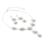 Silver Crystal Rhinestone Snowflake Necklace and Matching 2 Snowflake Dangle Earrings Jewellery Set