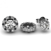 14K White Gold Round Removable Jackets for Stud Earrings