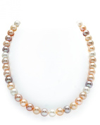9-10mm Freshwater Multicolor Cultured Pearl Necklace - AAAA Quality, 20 Inch Matinee Length