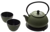 New Star International T8030 Cast Iron ARR Tea Set with Trivet, 620ml, Green