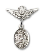ReligiousObsession's Sterling Silver Baby Badge with St. Catherine Laboure Charm and Angel with Wings Badge Pin