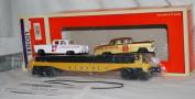 Lionel 6-19423 Flatcar w/ 2 Lionel Circle L Racing Stock Cars load