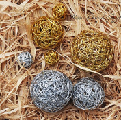 10PCS 6.1cm Dia.Mixed Gold & Silver Wicker Rattan Ball Wedding Christmas Festival Party Hanging Decoration Nursry Mobiles