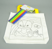 Childs Linen Colour in Bag with Felt Pens With Teddy and Rainbow