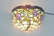 Gweat 30cm Vintage Pastoral Stained Glass Tiffany Purple Flower Wall Lamp Hallway Wall Sconce Lamp Fixture