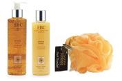 SBC Arnica Gel & Arnica Shower Creme 250ml With Hydrea Yellow Scrunchie Buffer