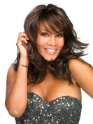Kalyss Women's Meidum Long Curly Heat Resistant Super Natural Brown Hair wigs