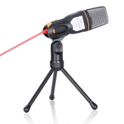 GHB Professional Condenser Microphone with Tripod Base 3.5mm jack for PC Laptop Computer - Black