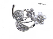 Crystal and Pearl Flower Brooch