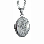 Crystal Hearts Oval Locket - Memorial Keepsake Pendant - Engraving Available