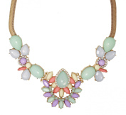 Pastel Jewels Statement Necklace With Clear Crystals