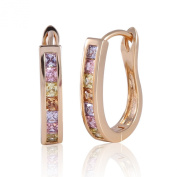GULICX Gold Electroplated Multicolor CZ Cubic Zirconia Women Colourful Huggie Earrings Hoops