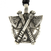 Mystical & Magical Pewter Viking Nordic Shield and Celtic Battle Axes Pendant