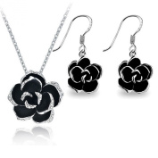 [Christmas Gift]Yoursfs Lovely 18k Gold Plated Use Austrian Crystal Black Rose Flower Necklace & Earring Sets