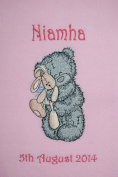 Scruffy Grey Bear With Bunny Applique Super Soft Fleece Blanket.