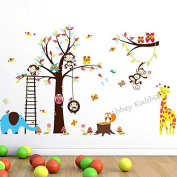 Kids Wall Stickers Tree Woodland Animals and Safari Animals Owls, Monkey, Squirrel, Fox, Giraffe & Elephant, Removable and Repositionable for Kids Bedroom Walls