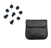 Thetransporter - 24 X Black Triple Flange Style Noise Isolating Replacement Silicone Earbuds Tips Gels All Large Size + Free Leather Look Pouch
