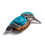 Classic Baltic Milky Amber, Silver and Turquoise Kingfisher Bird Brooch