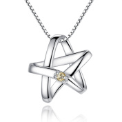 Forfamilyltd Sterling Silver & Birthstone Lucky Star Pendant Necklace Includes 45cm Box Chain