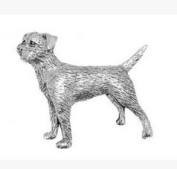 Gift Box Pewter Border Terrier Badge pin or Brooch Gift for Scarf, Tie, Hat, Coat or Bag