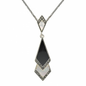 Esse Marcasite Sterling Silver Mother of Pearl Black Onyx and Marcasite Art Deco Pendant with 46cm Chain